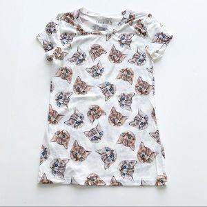 Cat Face Top T Shirt Kitty Kitten Novelty